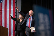 Democrate Presidential candidate Bernie Sanders and his wife Mary Jane O'Meara Sanders at a campaign rally at the Henderson Pavillion outside Las Vegas.