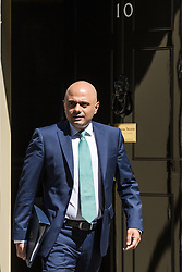 London, UK. 16 July, 2019. Sajid Javid MP, Secretary of State for the Home Department, leaves 10 Downing Street following a Cabinet meeting.