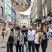 (L-R) Will Poulter, Jo Wood, Tyrone Wood, Simon Quayle, Mary Charteris and Pixie Geldof for  World Ocean Day - Project 0 Ambassadors unveil One Ocean One Planet on Carnaby Street, on 4 June 2019, London, UK.