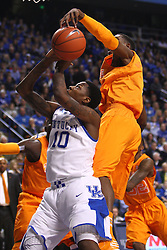 UK guard Archie Goodwin has his shot blocked by Tennessee guard Josh Richardson in the first half. The University of Kentucky Men's Basketball team hosted University of Tennessee , Tuesday, Jan. 15, 2013 at Rupp Arena in Lexington . Photo by Jonathan Palmer/Special to the Courier-Journal