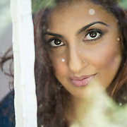 Amna looking out the window.