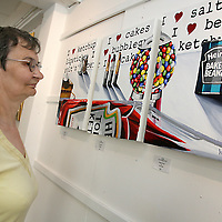 Sheila Perry from Devon looking at a piece by Orla Walsh which has been bought by actor Colin Farrell titled 'I Love Ketchup &.....' which is currently on display in The Lahinch Art Gallery at Kenny Wollen Mill in Lahinch.<br /><br /><br /><br />Photograph by Yvonne Vaughan.