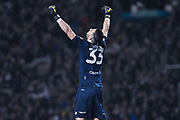 Francisco Casilla of Leeds United (33) celebrates at the full time whistle during the EFL Sky Bet Championship match between Leeds United and West Bromwich Albion at Elland Road, Leeds, England on 1 March 2019.