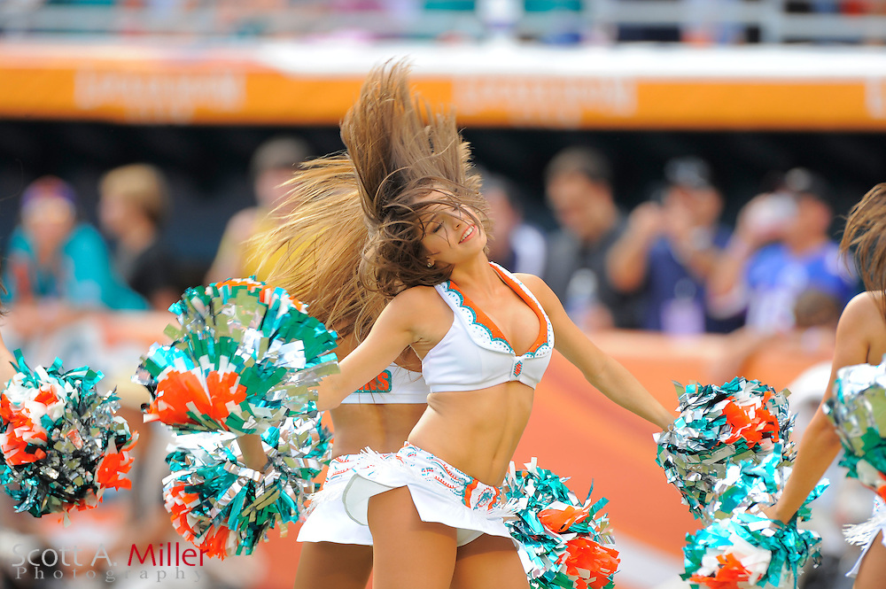 Miami Dolphins cheerleaders during the Dolphins 18-15 overtime loss to the Denver Broncos at Sun Life Stadium on Oct. 22, 2011 in Miami Gardens, Fla.  ...©2011 Scott A. Miller