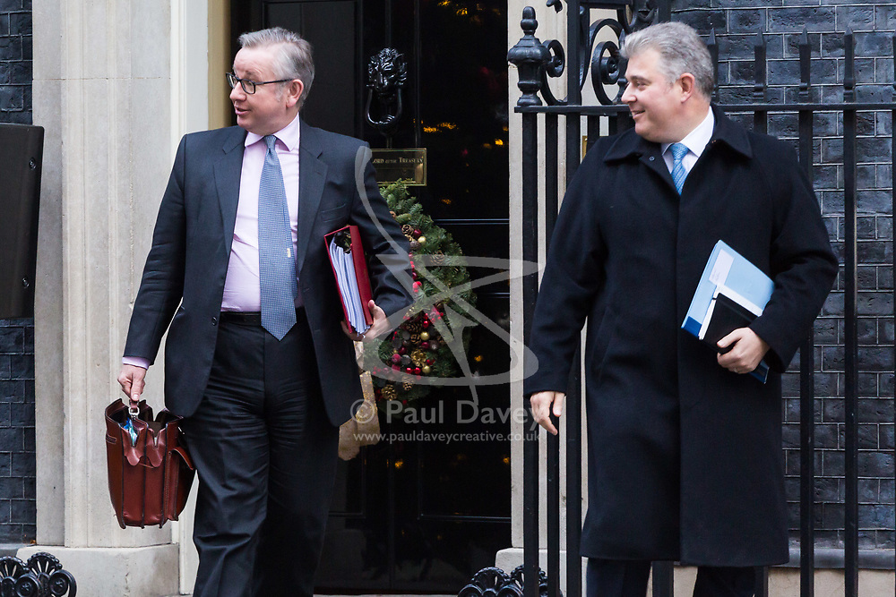 London, December 19 2017. Secretary of State for Environment, Food and Rural Affairs Michael Gove (L) and Home Office Minister Brandon Lewis leaves 10 Downing Street following the last cabinet meeting before the Christmas break. © Paul Davey