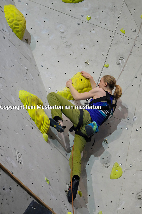 Hannah Baldwin of Great Britain competes in Women's RP2 Final of Paraclimbing Cup at  the International Federation of Sport Climbing (IFSC) World Cup 2017 at Edinburgh International Climbing Arena, Scotland, United Kingdom.