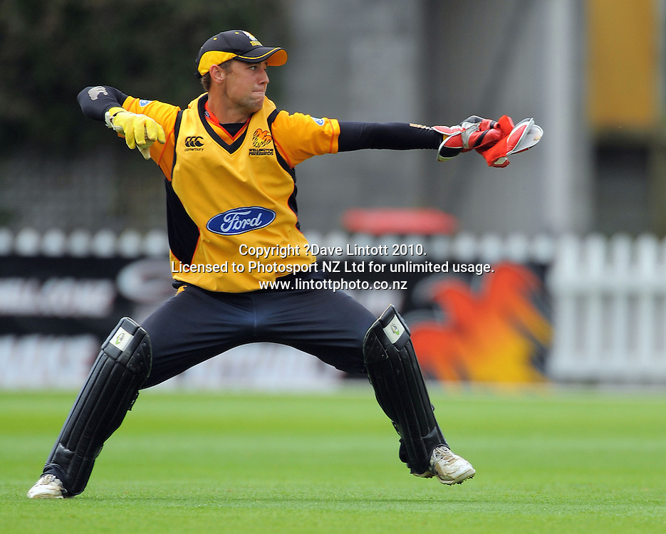 Wellington keeper Joe Austin-Smellie. One Day cricket - Wellington Firebirds v Auckland Aces at Allied Nationwide Finance Basin Reserve, Wellington on Wednesday, 2 February 2011. Photo: Dave Lintott / photosport.co.nz