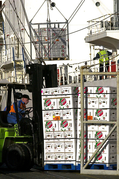 New Zealand apples are loaded on to a ship for export, Napier, New Zealand. Credit: SNPA / John Cowpland