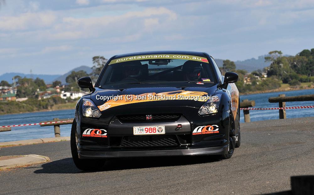 Russell Newman & Chris Murphy .2008 Nissan GTR.Prologue.George Town.Targa Tasmania 2009.28th of April 2009.(C) Joel Strickland Photographics.