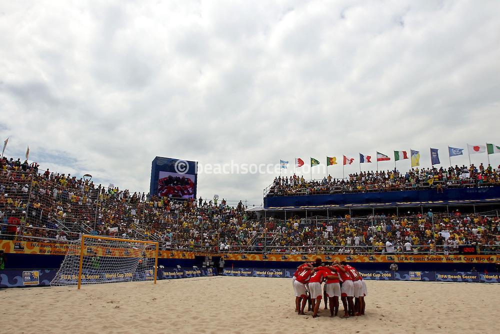 Football - FIFA Beach Soccer World Cup 2006 - Final - BRA X URU - Rio de Janeiro - Brazil 12/11/2006<br />Uruguay's meeting before the match Event Title Board Mandatory Credit: FIFA / Ricardo Moraes