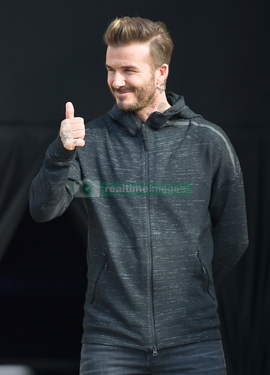 David Beckham is seen at a Addidas store in Paris for the David Beckham Ex asterclass<br />