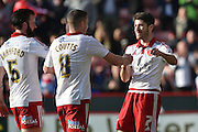 Sheffield United midfielder Ryan Flynn (7) celebrates scoring to go 2-0 up  during the Sky Bet League 1 match between Sheffield Utd and Crewe Alexandra at Bramall Lane, Sheffield, England on 25 March 2016. Photo by Ian Lyall.