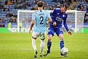 Manchester City defender Kyle Walker (2) and Leicester City defender Christian Fuchs (28) during the quarter final of the EFL Cup match between Leicester City and Manchester City at the King Power Stadium, Leicester, England on 18 December 2018.