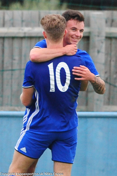 JORDAN MACLEOD PETERBOROUGH SPORTS FC CELEBRATES AFTER SCORING 3RD GOAL,  Peterborough Sports FC v Newport Pagnell FC Ucl Premier Division League Saturday 17th September 2016 Score 3-1<br /> Photo:Mike Capps
