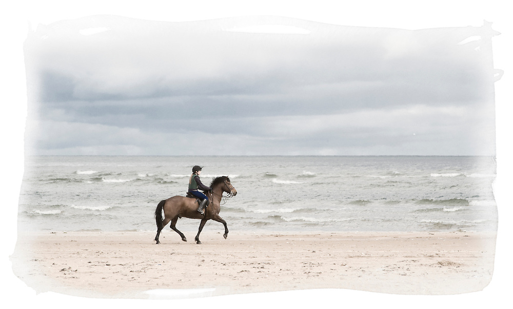 Girl on horseback, West Sands, St Andrews, Scotland