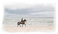Girl on horseback, West Sands, St Andrews, Scotland