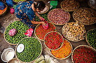 Baskets filled with veggies and fruits in a local market of Hanoi, Vietnam, Southeast Asia