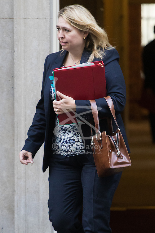 Downing Street, London, October 18th 2016. Secretary of State for Culture, Media and Sport Karen Bradley leaves 10 Downing Street in London following the weekly cabinet meeting.