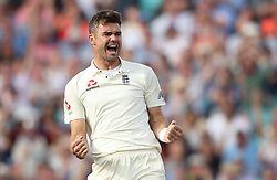 England's James Anderson celebrates taking the wicket of India's Shikhar Dhawan LBW during the test match at The Kia Oval, London.