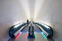 Elbphilharmonie, Hamburg, Germany; Curved escalator inside new opera house in Hamburg, Germany.
