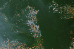 August 19, 2019 - Amazon Rainforest - In the Amazon rainforest, fire season has arrived. The Moderate Resolution Imaging Spectroradiometer (MODIS) on NASA's Aqua satellite captured these images of several fires burning in the states of Rondonia, Amazonas, Para, and Mato Grosso on August 11 and August 13, 2019. In the Amazon region, fires are rare for much of the year because wet weather prevents them from starting and spreading. However, in July and August, activity typically increases due to the arrival of the dry season. Many people use fire to maintain farmland and pastures or to clear land for other purposes. Typically, activity peaks in early September and mostly stops by November. (Credit Image: © NASA Earth/ZUMA Wire/ZUMAPRESS.com)