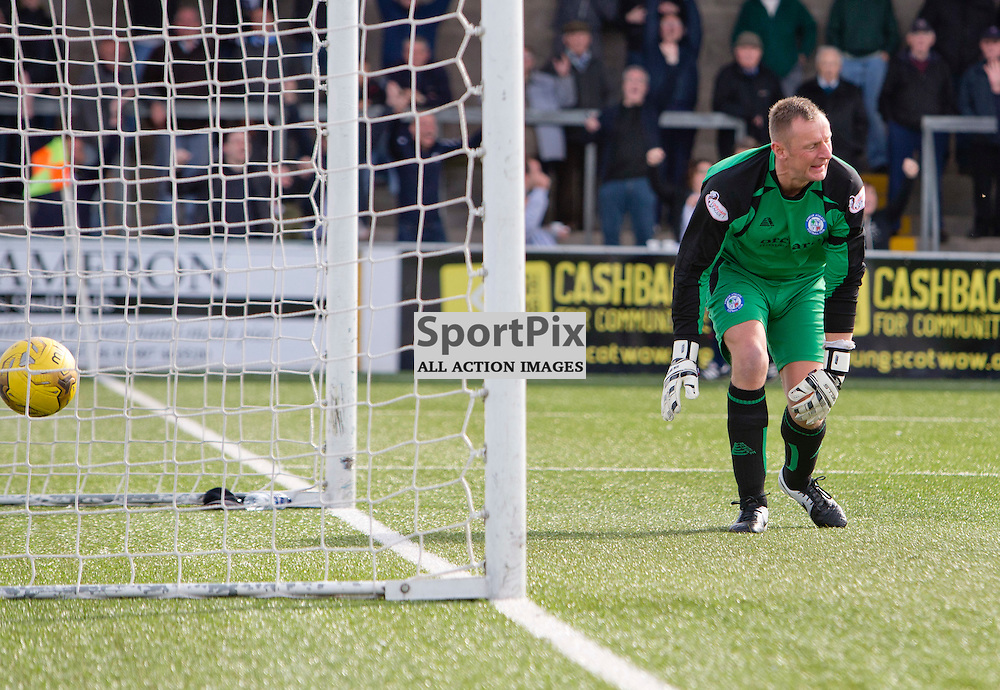 Forfar Athletic v Dunfermline Athletic SPFL League One Season 2015/16 Station Park 05 September 2015<br /> Rab Douglas fumbles the ball into his net to make it 2-0<br /> CRAIG BROWN | sportPix.org.uk