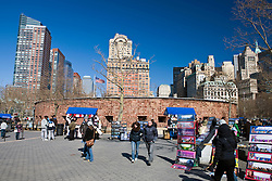 Street vendors and tourists at Castle Clinton National Monument, Manhattan, New York City, New York.