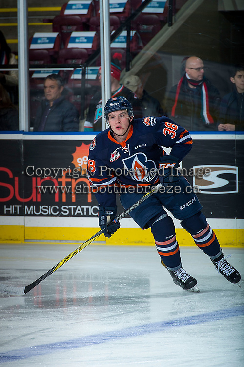KELOWNA, CANADA - DECEMBER 27: Keltie Jeri-Leon #38 of the Kamloops Blazers warms up against the Kelowna Rockets on December 27, 2017 at Prospera Place in Kelowna, British Columbia, Canada.  (Photo by Marissa Baecker/Shoot the Breeze)  *** Local Caption ***