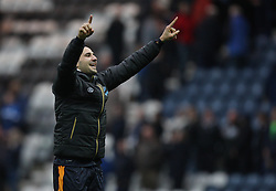 Aleksandar Mitrovic of Newcastle United celebrates at the final whistle - Mandatory by-line: Jack Phillips/JMP - 29/10/2016 - FOOTBALL - Deepdale - Preston, England - Preston North End v Newcastle United - EFL Championship