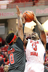 08 November 2015: Nick Banyard(0) gets close to Terrence Tisdell(13) attempting to block a shot. Illinois State Redbirds host the Southern Indiana Screaming Eagles and beat them 88-81 in an exhibition game at Redbird Arena in Normal Illinois (Photo by Alan Look)