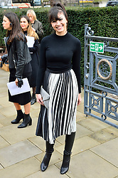 © Licensed to London News Pictures. 21/02/2016.  DAISEY LOWE arrival for the Top Shop Unique show at the London Fashion Week Autumn/Winter 2016 show. Models, buyers, celebrities and the stylish descend upon London Fashion Week for the Autumn/Winters 2016 clothes collection shows. London, UK. Photo credit: Ray Tang/LNP
