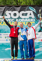 Second placed Tomas Slovak of Czech republic, winner Nejc Znidarcic of Slovenia and third placed Theo Devard of France in K1 men at medal ceremony after the final sprint race of European wildwater Canoeing Championships Soca 2013 on May 12, 2013 in Trnovo ob Soci, Soca river, Slovenia. (Photo By Vid Ponikvar / Sportida)