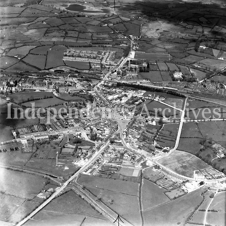 A119 Clones.   12/09/52. (Part of the Independent Newspapers Ireland/NLI collection.)<br /> <br /> <br /> These aerial views of Ireland from the Morgan Collection were taken during the mid-1950's, comprising medium and low altitude black-and-white birds-eye views of places and events, many of which were commissioned by clients. From 1951 to 1958 a different aerial picture was published each Friday in the Irish Independent in a series called, 'Views from the Air'.<br /> The photographer was Alexander 'Monkey' Campbell Morgan (1919-1958). Born in London and part of the Royal Artillery Air Corps, on leaving the army he started Aerophotos in Ireland. He was killed when, on business, his plane crashed flying from Shannon.
