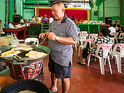 21 JANUARY 2017 - BANGKOK, THAILAND:  Cooking Thai snacks in Phra Khanong Market in Bangkok. The market serves a mix of foreign residents, local people, and Burmese migrants.      PHOTO BY JACK KURTZ