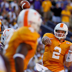 Oct 2, 2010; Baton Rouge, LA, USA; Tennessee Volunteers quarterback Matt Simms (2) passes against the Tennessee Volunteers during the second half at Tiger Stadium. LSU defeated Tennessee 16-14.  Mandatory Credit: Derick E. Hingle