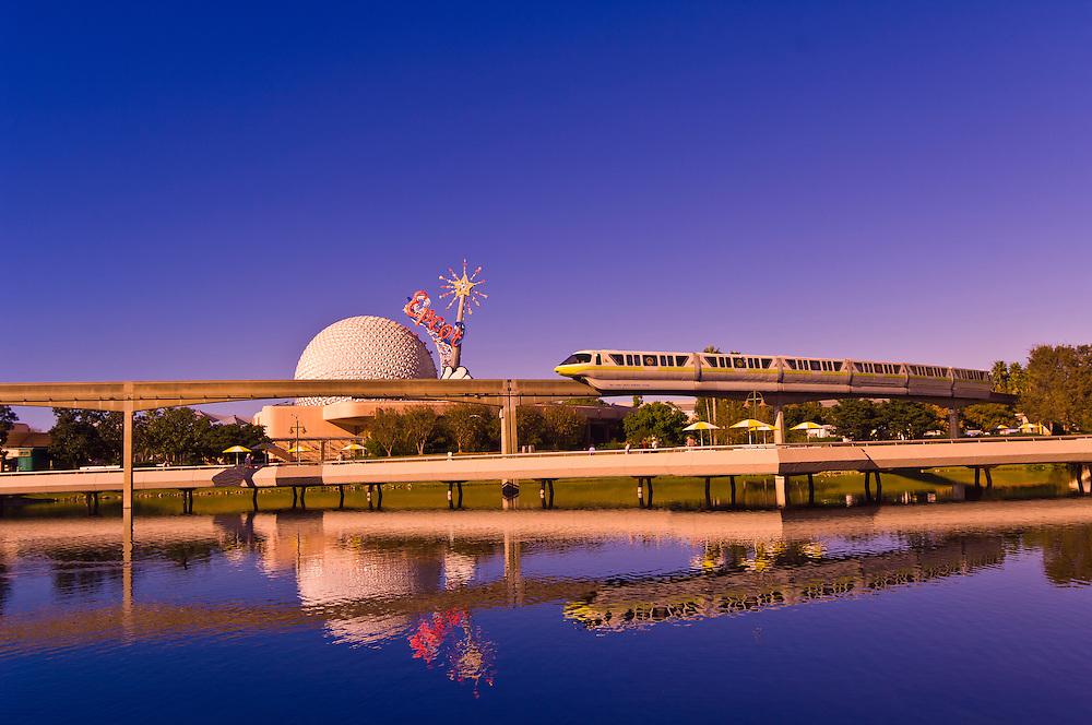 Monorail with Geosphere at Epcot Center, Walt Disney World, Orlando, Florida USA