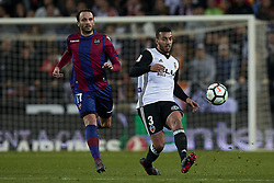 February 11, 2018 - Valencia, Valencia, Spain - Ruben Vezo (R) of Valencia CF competes for the ball with Pazzini of Levante UD during the La Liga game between Valencia CF and Levante UD at Mestalla on February 11, 2018 in Valencia, Spain  (Credit Image: © David Aliaga/NurPhoto via ZUMA Press)