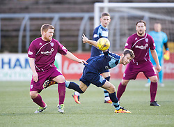 Arbroath's Ryan McCord and Forfar Athletic's Danny Denholm. half time : Forfar Athletic 0 v 0 Arbroath, Scottish Football League Division Two game played 10/12/2016 at Station Park.