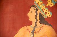 Grèce, Crète, site archéologique minoen de Knossos, peinture du Prince aux Lys // Greece, Crete island, Iraklion, archeological site of Knossos, Prince of Lilies fresco