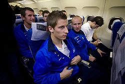 Valter Birsa and Miso Brecko at airplane from Moscow to Maribor and Ljubljana after the FIFA World Cup South Africa 2010 Qualifying play-off match between Russia and Slovenia,  on November 14, 2009, in Moscow, Slovenia.   (Photo by Vid Ponikvar / Sportida)