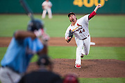 Anthony Ferrara (44) of the Springfield Cardinals delivers a pitch during a game against the Northwest Arkansas Naturals at Hammons Field on August 23, 2013 in Springfield, Missouri. (David Welker)