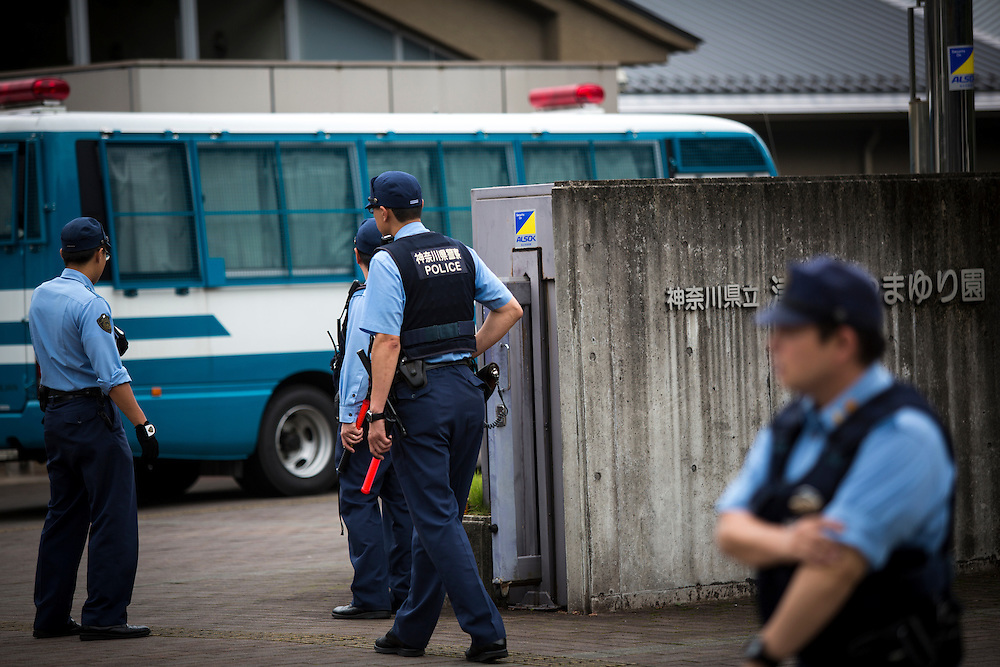 SAGAMIHARA, JAPAN - JULY 27 :  Police officers continue to investigate on knife attack in a handicap center of Tsukui Yamayuri-en building at Sagamihara on Wednesday, July 27, 2016 in Kanagawa prefecture, Japan. Police arrested 26 year old Satoshi Uematsu after breaking inside the building facility for handicapped and killing 19 people and injuring 20 in the city of Sagamihara, west of Tokyo. (Photo: Richard Atrero de Guzman/NURPhoto)