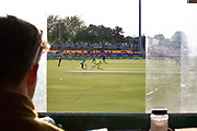 View from the score box during the Royal London Women's One Day International match between England Women Cricket and Australia at the Fischer County Ground, Grace Road, Leicester, United Kingdom on 2 July 2019.