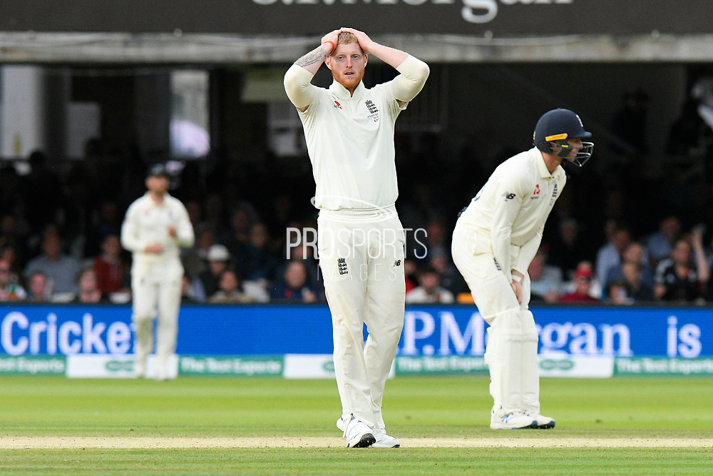 Ben Stokes of England reacts after a catching chance from Travis Head of Australia was dropped during the International Test Match 2019 match between England and Australia at Lord's Cricket Ground, St John's Wood, United Kingdom on 18 August 2019.