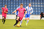 Hartlepool playerbRhys Oates goes down the sideline with the ball in the first half during the EFL Sky Bet League 2 match between Colchester United and Hartlepool United at the Weston Homes Community Stadium, Colchester, England on 25 February 2017. Photo by Ian  Muir.
