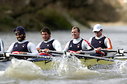 2005 Varsity Boat Race - Pre race fixtures - Putney, London., ENGLAND; left to right, 4. Matt Hughes, 3. Paul Daniels, 2. Gabe Winkler, bow, Julien Romcolthoff..Photo  Peter Spurrier. .email images@intersport-images...[Mandatory Credit Peter Spurrier/ Intersport Images] Varsity:Boat Race Rowing Course: River Thames, Championship course, Putney to Mortlake 4.25 Miles