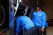 Bradford City Midfielder Tyrell Robinson (35) arrives on the team coach during the EFL Sky Bet League 1 match between Gillingham and Bradford City at the MEMS Priestfield Stadium, Gillingham, England on 12 August 2017. Photo by Andy Walter.