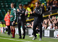 02/10/14 UEFA EUROPA LEAGUE<br /> CELTIC v GNK DINAMO ZAGREB<br /> CELTIC PARK - GLASGOW<br /> Celtic manager Ronny Deila applauds his side after they take an early lead