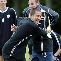 St Johnstone training...12.07.04<br />Paul Bernard messing around with Ryan Stevenson<br /><br />Picture by Graeme Hart.<br />Copyright Perthshire Picture Agency<br />Tel: 01738 623350  Mobile: 07990 594431