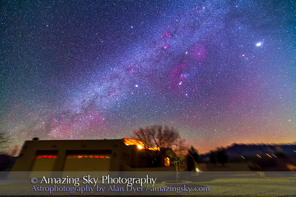 The northern winter Milky Way over the main adobe house at the Painted Pony Resort, New Mexico, March 10, 2013. This is a stack of 5 x 5 minute tracked exposures with the Samyang 14mm lens at f/2.8 and Canon 5D MkII at ISO 800. Used iOptron SkyTracker. Ground is from two exposures only.
